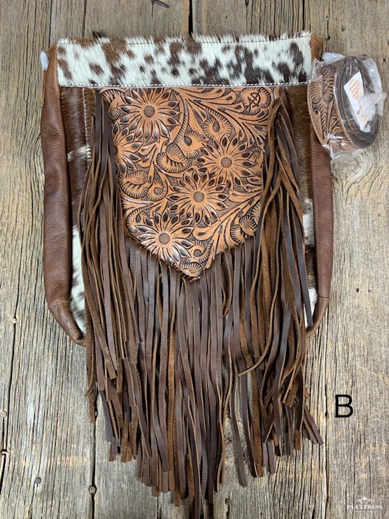 V Fringe Cowhide Purse