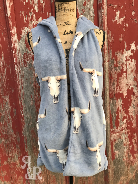 Cow Skull Hooded Vest - Ropes and Rhinestones