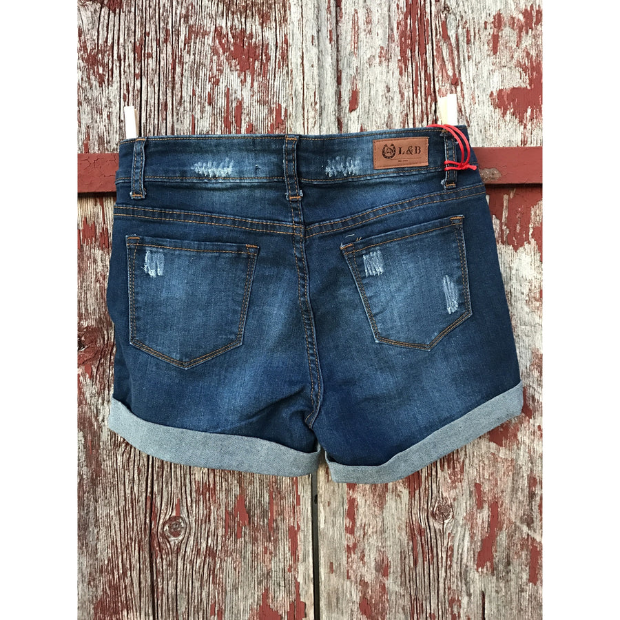 Denim Distressed Shorts - Ropes and Rhinestones