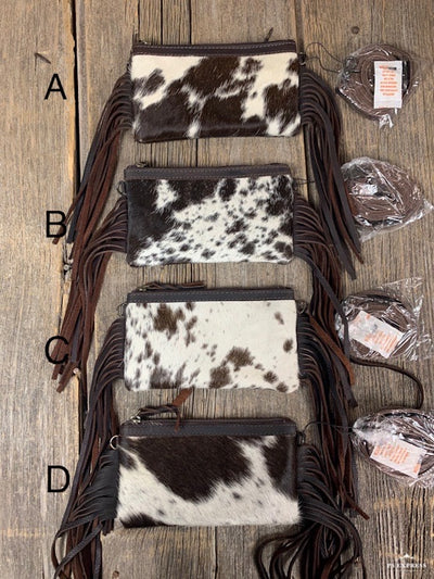 Grab N Go Cowhide Fringe Crossbody Purse