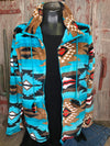Turquoise Aztec Fleece Jacket