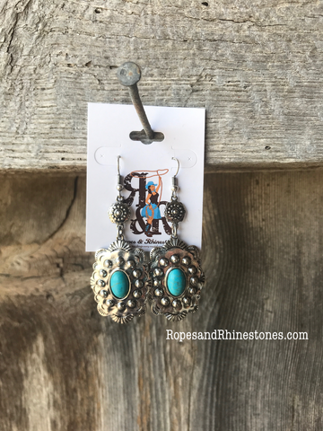 Turquoise & Silver Rectangle Earrings