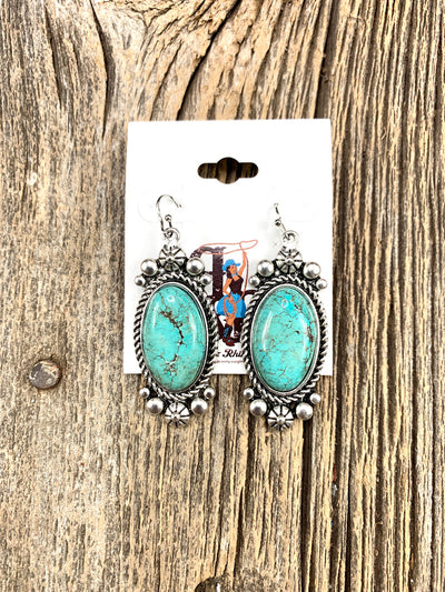 Turquoise Oval Spot Earrings