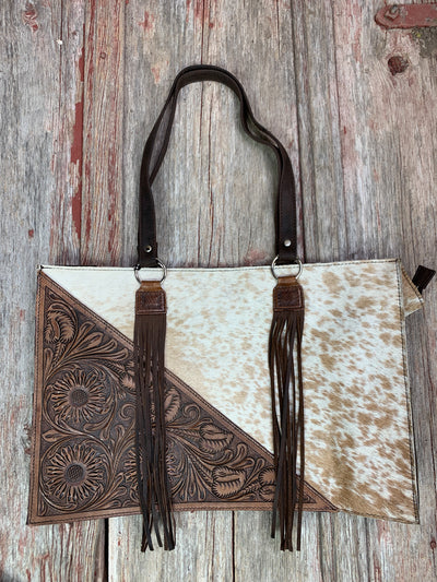 Cowhide Diagonal Leather Tote