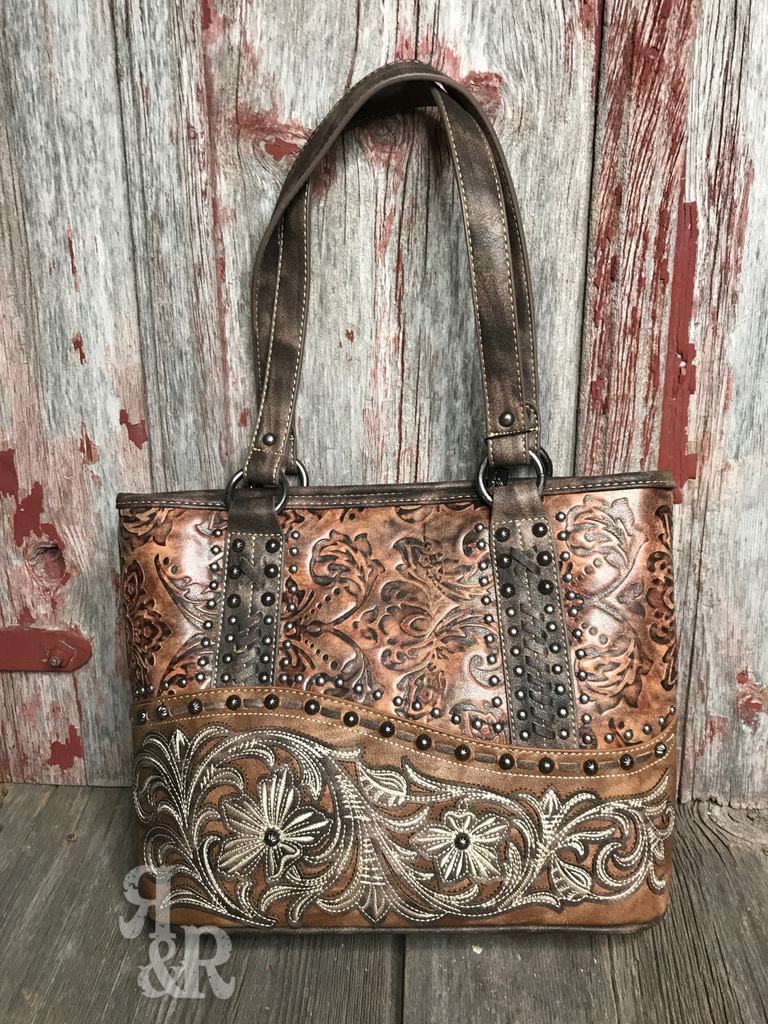 Tooled Flower Studded Purse