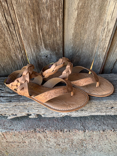 Tooled Leather Lady Sandals