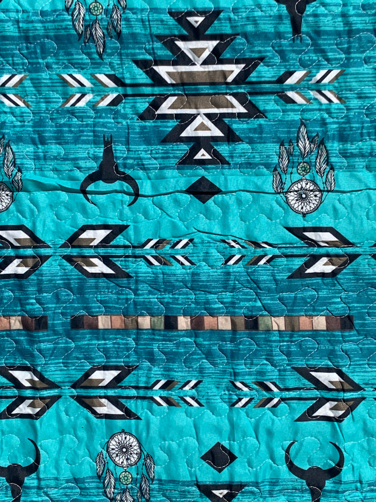 Mini Cow Skull & Dreamcatcher Turquoise Quilt Set