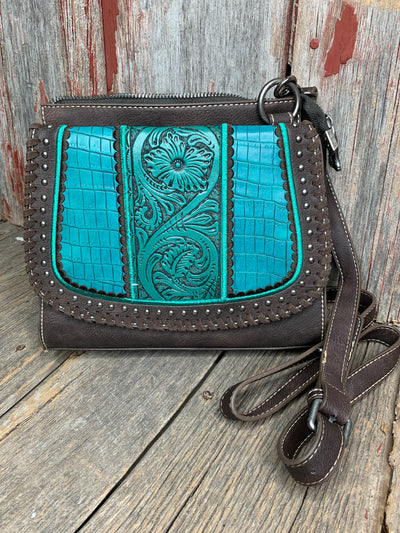 Tooled Leather & Croc Cross Body Purse Turquoise