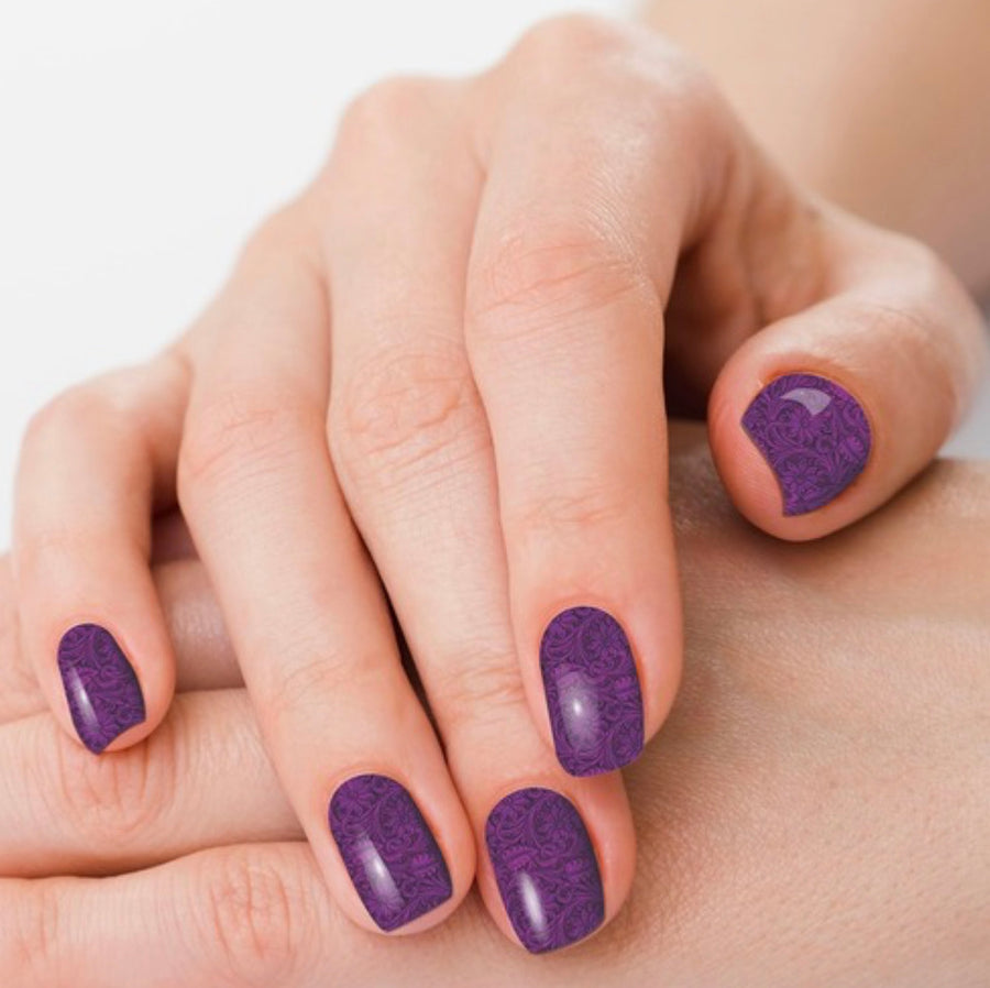Saddle Up Purple Tooled Leather Nail Polish Strips