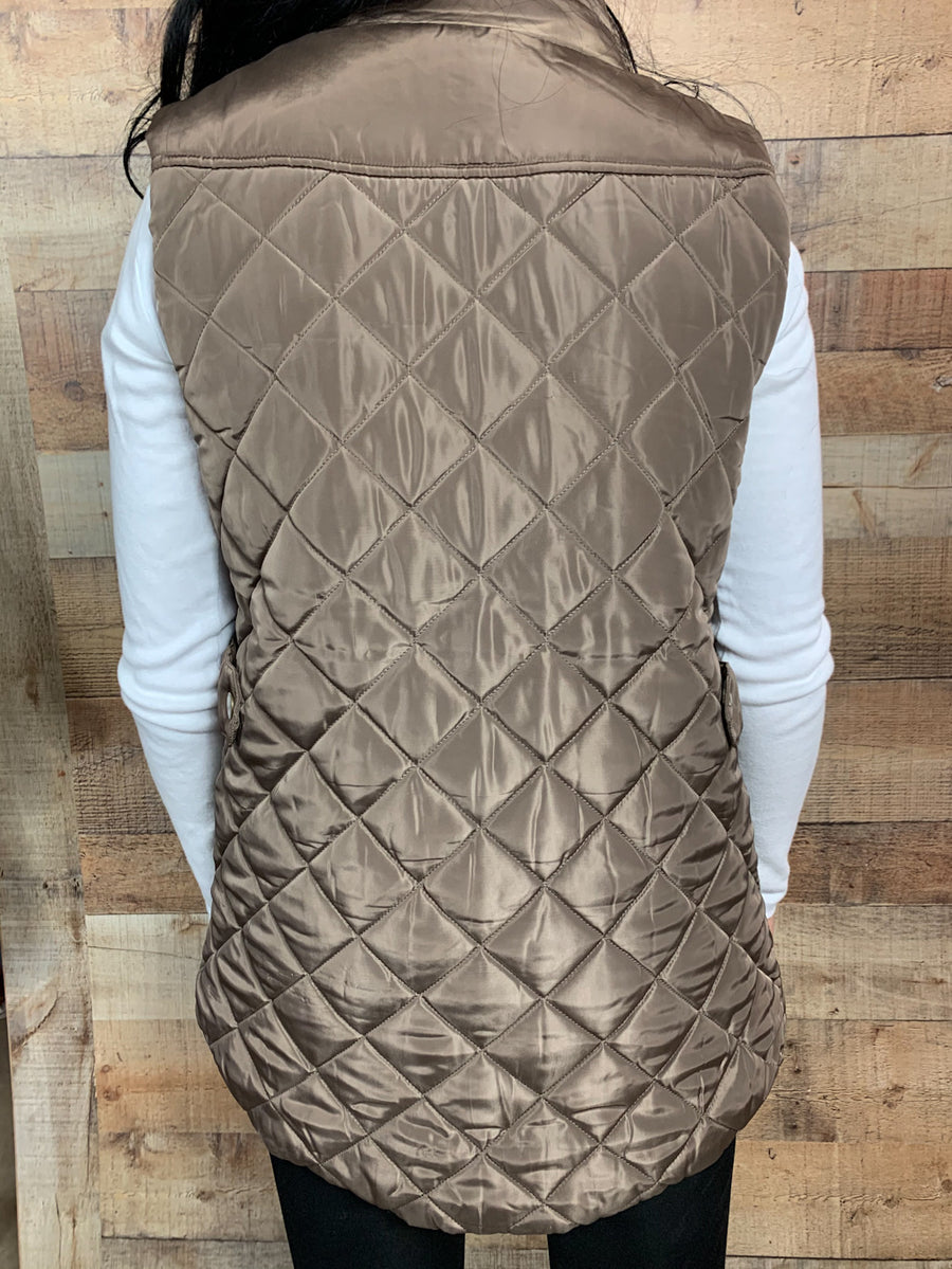 Diamond Quilted Pocket Vest