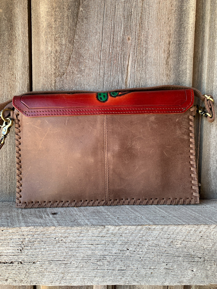 Cactus Flower Tooled Envelope Purse