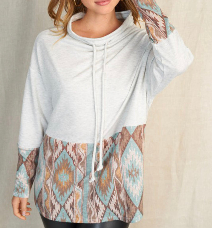 Blue Aztec Cowl Neck Top