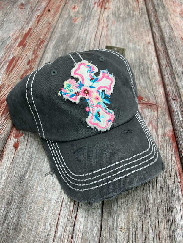 Floral Cross Patch Cap