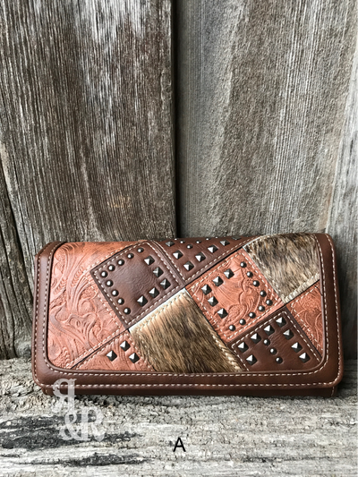 Cowhide Studded Patchwork Wallet - Ropes and Rhinestones