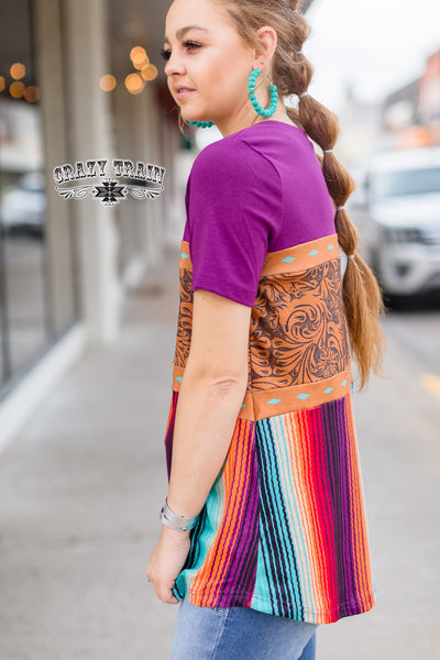 Rodeo Royalty Tooled Leather Serape Top