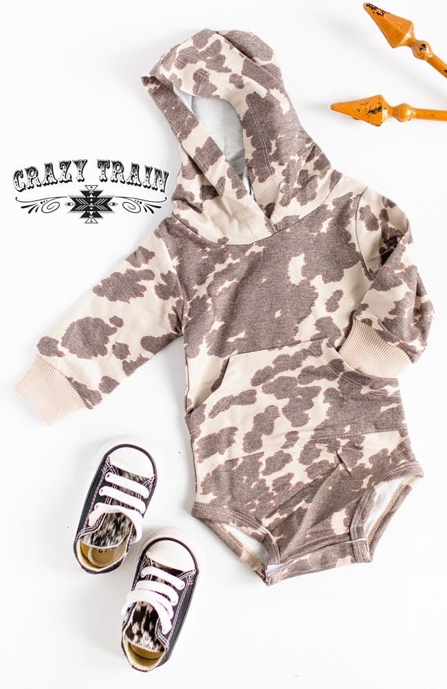 Cow Kiddo Cow Print Hooded Onesie