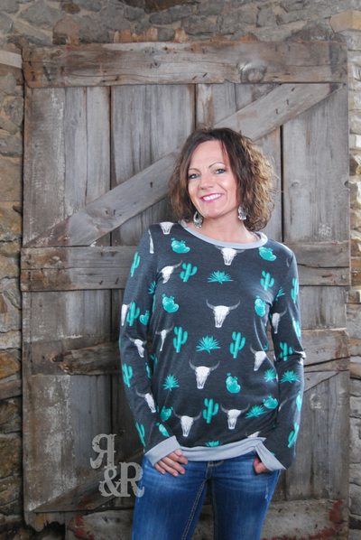 Cactus & Cow Skull Long Sleeve Top - Ropes and Rhinestones