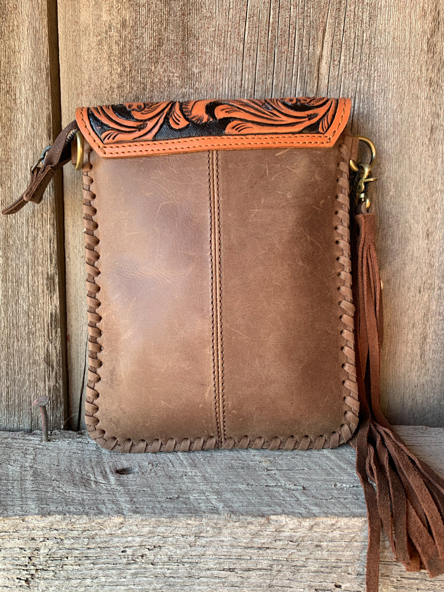 Whipstitched Tooled Flap Cross Body Purse