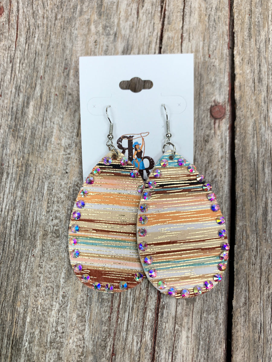 Sunset Serape Rhinestone Earrings