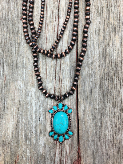 Copper Navajo Pearl & Turquoise Necklace Set