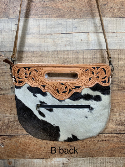Round Cowhide & Tooled Leather Purse