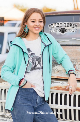 Cowboy Cool Zip Up Hoodie - Ropes and Rhinestones