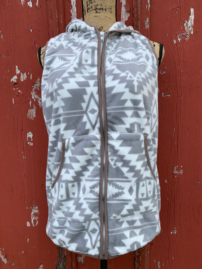 Aztec Fleece Hooded Vest - Ropes and Rhinestones