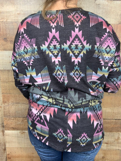 Aztec Black Watercolor Dolman Top