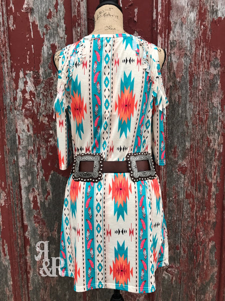 Aztec Cold Shoulder Fringe Dress - Ropes and Rhinestones