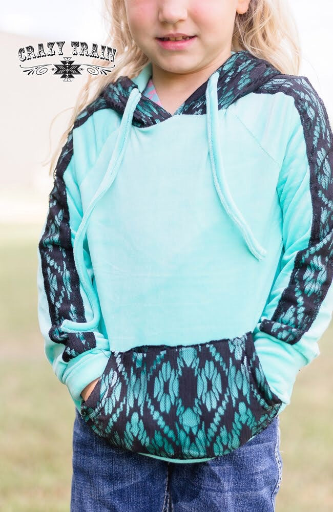 Lacey Lou Turquoise Hoodie Kids