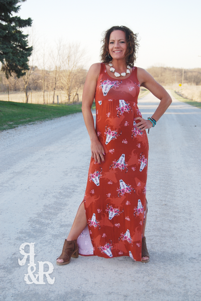 Cow Skull & Flowers Maxi Dress - Ropes and Rhinestones