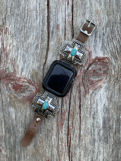 Square Cross Turquoise Apple Watch Band