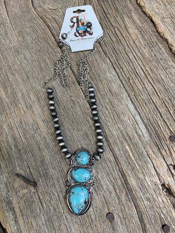 Triple Turquoise & Navajo Pearl Necklace