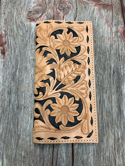 Floral Tooled Black Buck Stitch Wallet