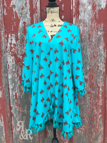 Bucking Bronc Turquoise Kimono - Ropes and Rhinestones