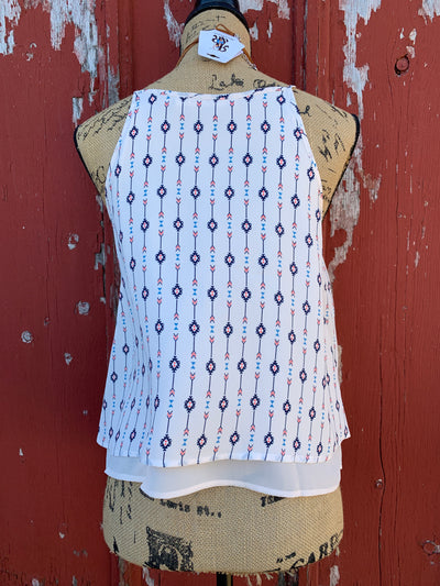 Aztec Double Layer Tank Top - Ropes and Rhinestones