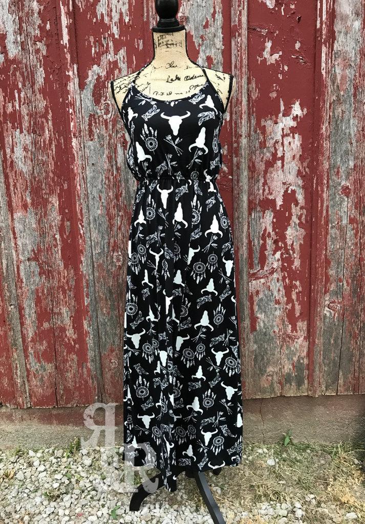 Western Cow Skull Print Halter Dress