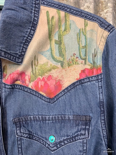 Cactus Flower Denim Shirt
