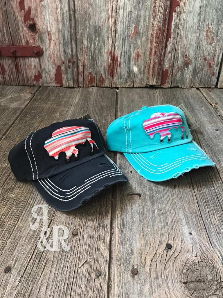 Aztec Buffalo Cap - Ropes and Rhinestones