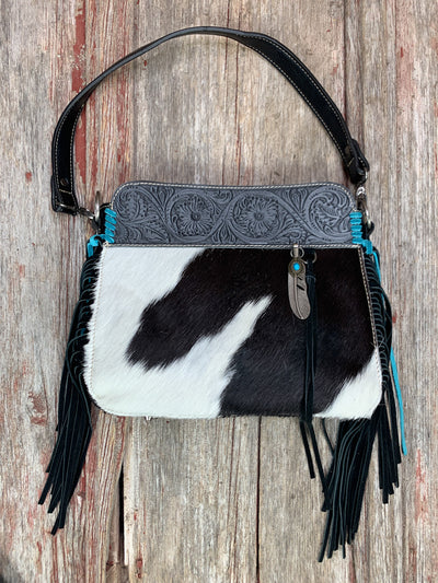 Tooled & Cowhide Feather Charm Purse