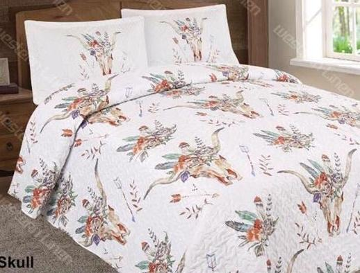 Cow Skull Bedspread Set - Ropes and Rhinestones