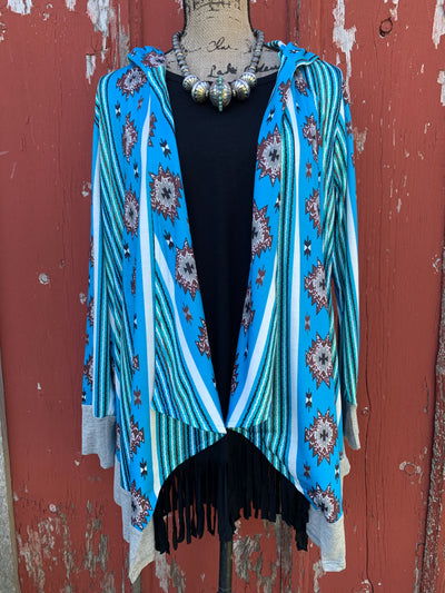Shades of Blue Aztec Hooded Cardigan