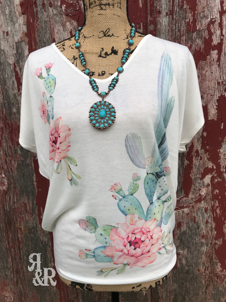 Cactus Flower V Neck Top - Ropes and Rhinestones