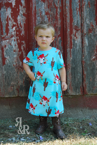 Cow Skull & Leopard Cactus Kids Dress - Ropes and Rhinestones
