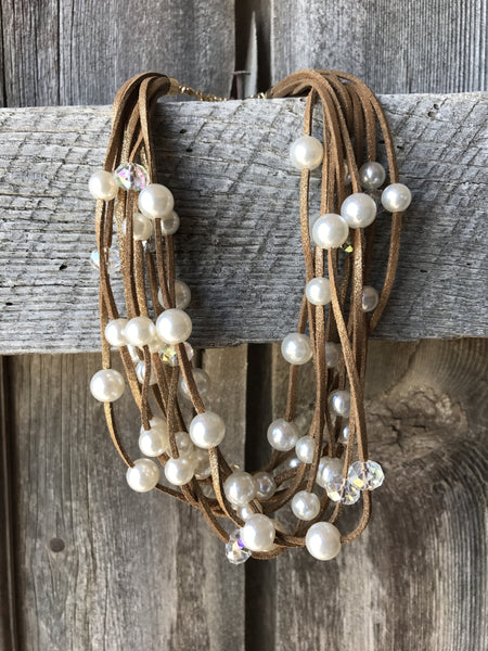 Multi Strand Pearl & Crystal Necklace