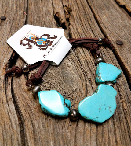 Leather & Turquoise Slab Bracelet