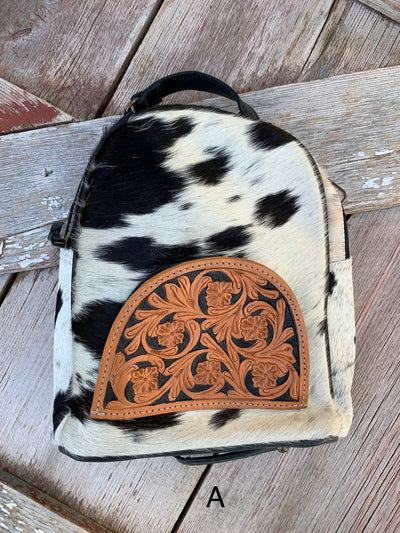 Cowhide Backpack with Tooled Leather Pocket