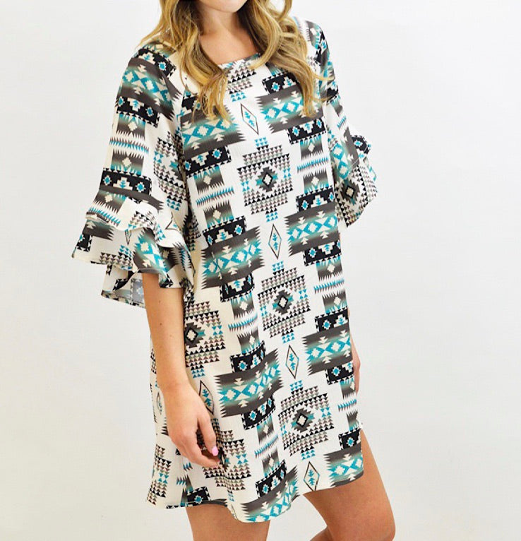 Turquoise & Black Aztec Dress