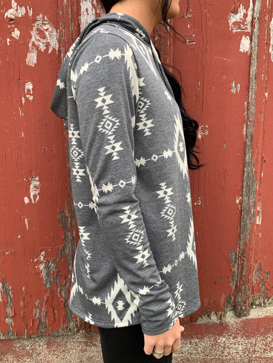 Aztec Charcoal Hooded Top