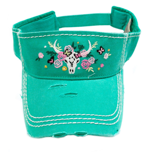 Cow Skull & Flowers Visor - Ropes and Rhinestones